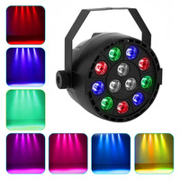 12 LEDs RGBW Color Mixing Par Lamp 8CH Voice Activated Stage Light Led Flat For