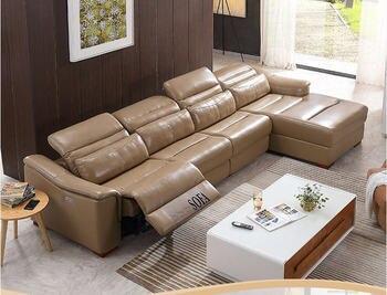 Soggiorno Divano set divano ad angolo reclinabile elettrico in vera ...
