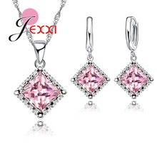Luxury 925 Sterling Silver Wedding Bridal Jewelry Set Cubic Zircon Crystal Pendant Necklace Hoop Earrings Sets For Woman