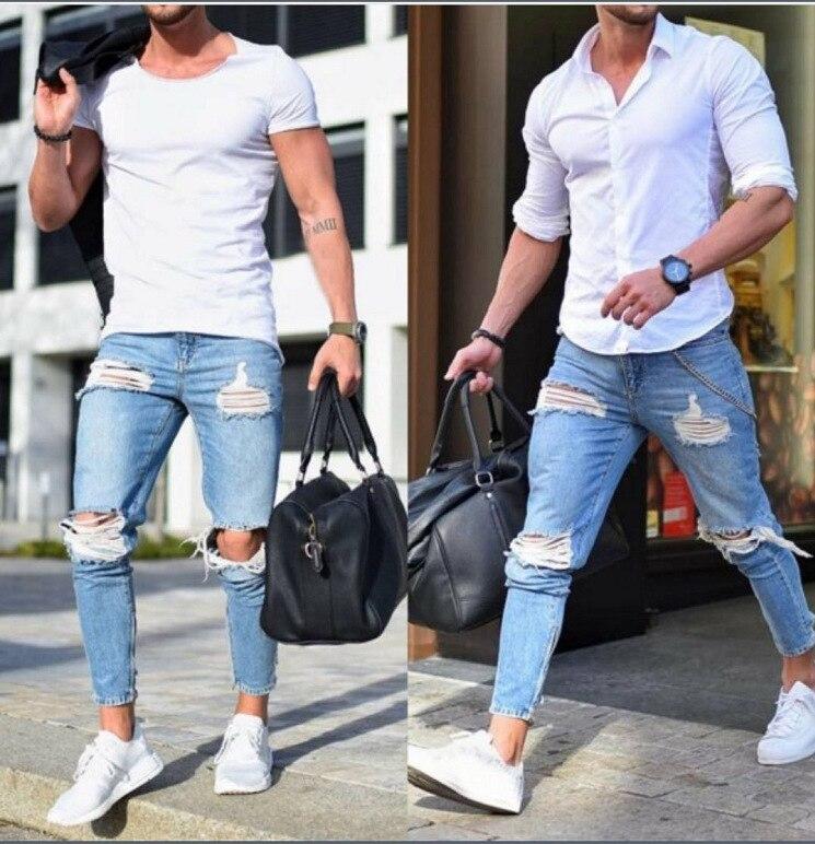 Fashion Men Solid Ripped Skinny Biker Zipper Fly   Jeans   Destroyed Hole Frayed Slim Fit Denim Pencil Pants