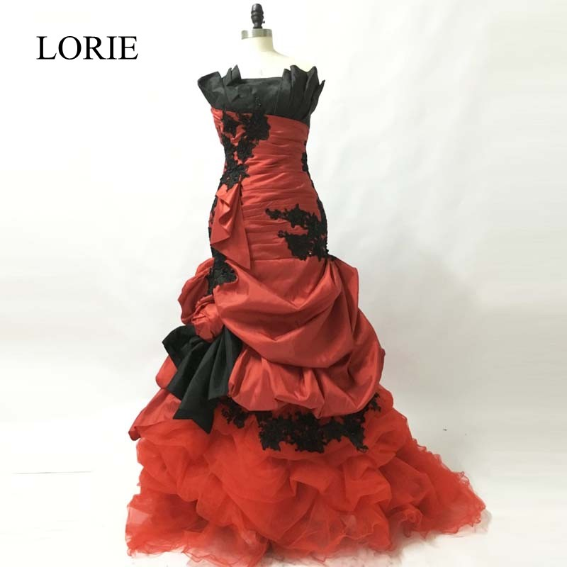 Gothic Red and Black Mermaid Wedding Dresses 2018 LORIE Vestido De Novia Lace Appliques Vintage Bridal Gowns China Custom Made