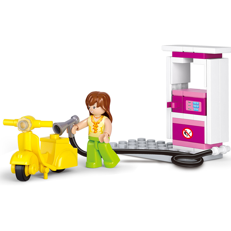 0518 SLUBAN Girl Friends City Gas Station Model Building Blocks Enlighten Figure Toys For Children Compatible Legoe 1916 enlighten city water police station series plan breakout model building blocks figure toys for children compatible legoe