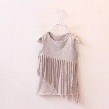 2017 New Girl ins Spring Splice vest Dress Clothing Set Cotton Fashion Kids tassel tshirt the Summer sleeveless Clothes Kid