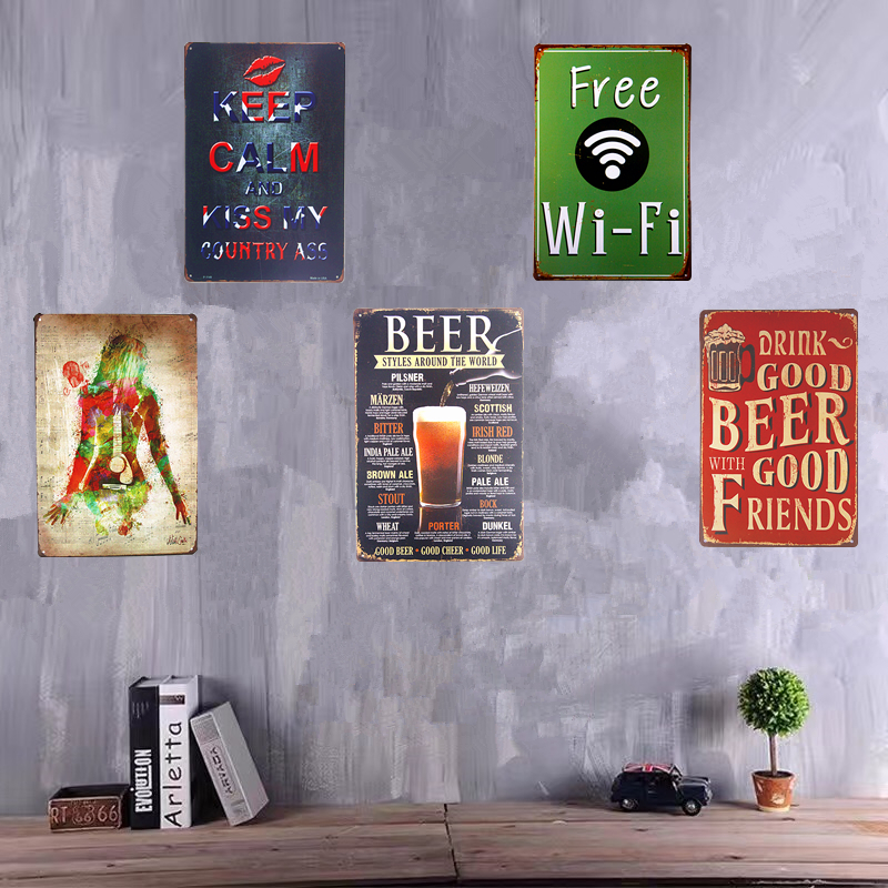 Vintage Shabby chic Metal Carteles de chapa Cerveza WiFi gratis Pub Club Party Poster Restaurante Café Café Pegatinas de pared Decoración