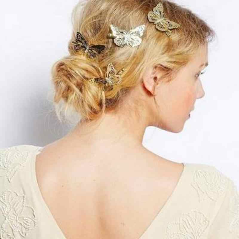 2017 Amazing Coming Gold Butterfly Hair Hair Accessories Clip Headband Hair Head Decoration Wedding Jewelry Free Shipping