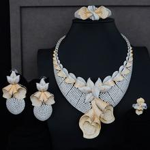 SisCathy 4PCS Cubic Zircon CZ African Indian Dubai Bridal Wedding Jewelry Sets For Women Luxury Statement Jewelry Sets godki new trendy luxury leaf flowr african lariat drop jewelry sets for women wedding zircon cz indian beads bridal jewelry sets