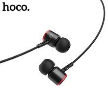 Hoco in ear estéreo baixo fones de ouvido fones de ouvido 3.5mm jack controle com fio de alta fidelidade fones de ouvido para iphone xiaomi telefone móvel
