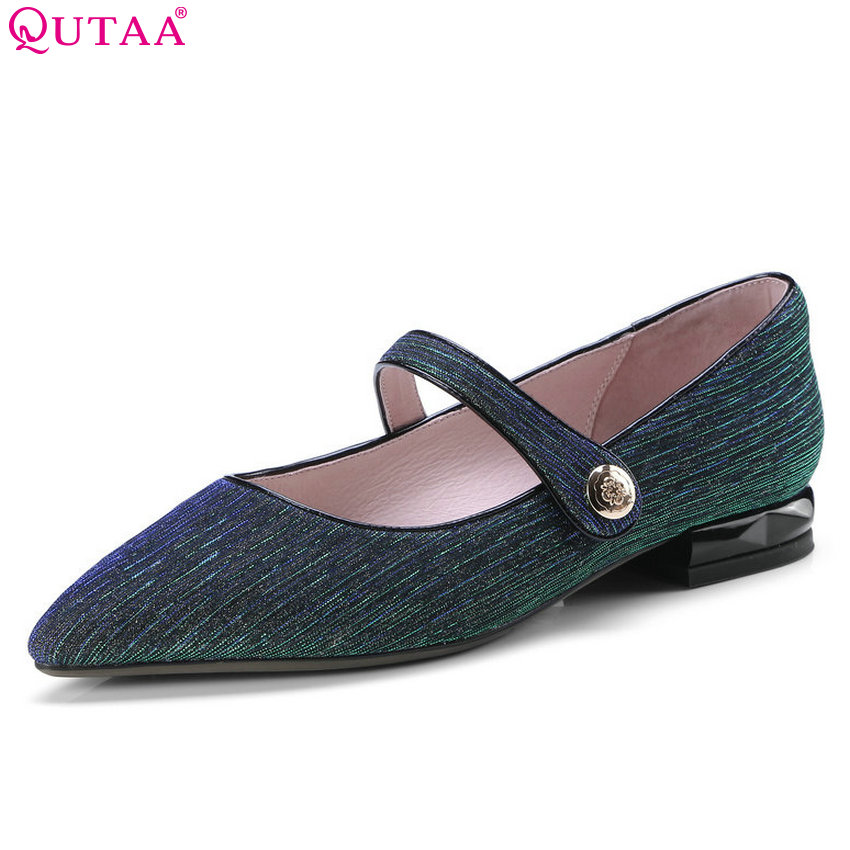 QUTAA 2018 Women Pumps Fashion Square Heel Women Shoes Cow Suede Pointed Toe Slip on All Match Shallow Ladies Pumps Size 34-42 vinlle 2018 women ankle boots shoes buckle cow suede square med heel pointed toe slip on ladies motorcycle shoes size 34 40