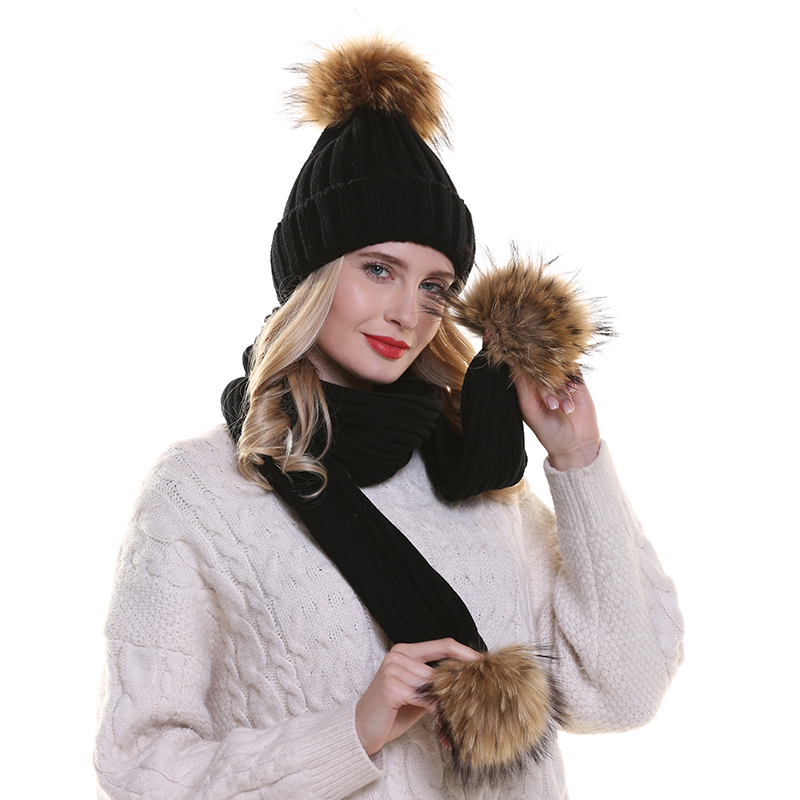 2019 New Real Mink Fur Pompom Hat Women Winter Hat And Scarf Set Warm Knitted Cotton   Beanies   For Ladies Girls   Beanie   Cap