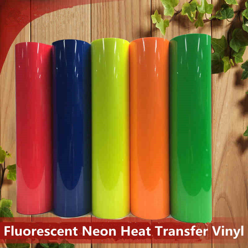Fluorescent Neon PVC Heat Transfer Vinyl Iron-on For Textile Garment 0.5x0.5m(20''x20'')