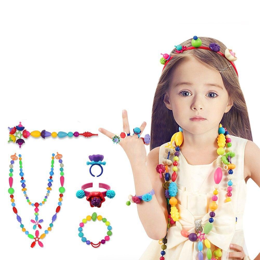 530 pçs pop arty grânulos snap juntos grânulos criativos diy brinquedos para meninas crianças conjunto de jóias para 5,6, 7,8 anos de idade