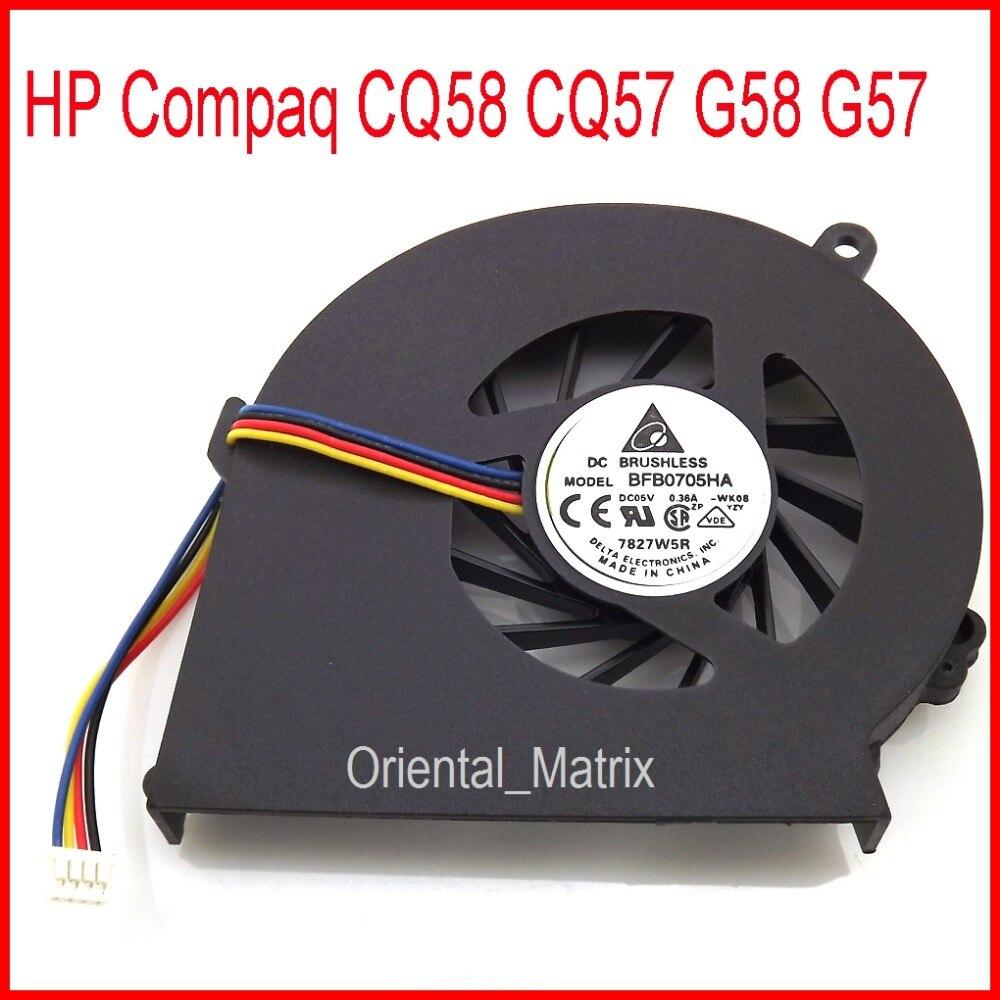 Free Shipping Original New BFB0705HA-WK08 DC5V 0.36A 4Pin Fan For HP Compaq G58 G57 CQ58 CQ57 Laptop CPU Cooler Cooling Fan