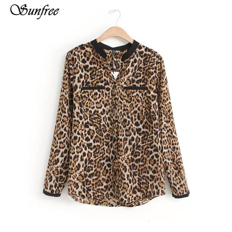 Sunfree جديد حار بيع الأزياء الجديدة النساء ليوبارد طباعة كم طويل قميص شيفون ضئيلة عارضة البلوزات العلامة التجارية الجديدة عالية الجودة 8 ديسمبر