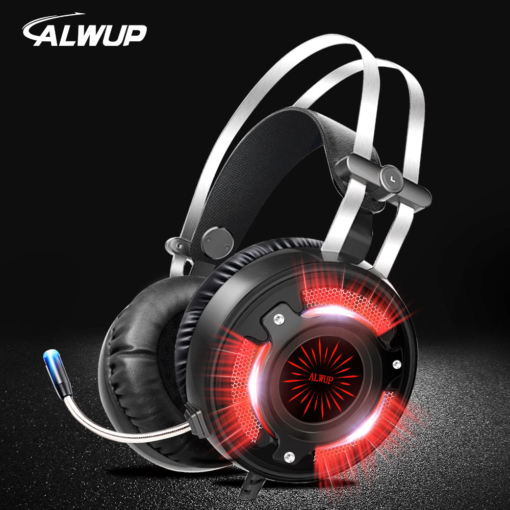 ALWUP A6 Gaming Cuffie per Computer di Giochi Per PC Trasduttore Auricolare Metallico Led HD Bass USB Gaming Headset per PS4 Xbox one con microfono