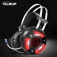 ALWUP A6 USB Headphone for computer PC games with splitter wired led gaming headset ps4 with microphone fittings and braided hose
