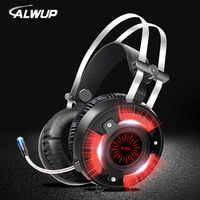 Alwup a6 jogos fones de ouvido para computador computador jogos com fio fone de ouvido led hd baixo usb gaming headset para ps4 xbox um com microfone