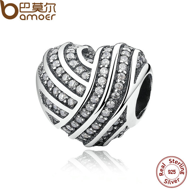 BAMOER Mother Gift 925 Sterling Silver Jewelry LOVE LINES Charms Fit  Bracelet & Bangle Accessories Fine Jewelry PAS280