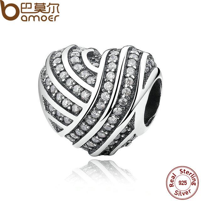 Bamoer madre regalo 925 joyería de plata esterlina amor líneas encantos ajuste pulseras y brazaletes accesorios de joyería fina pas280