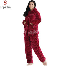 76e7384ab8 Brand Winter Ladies PajamasS 2017 New Coral Cashmere + Pants Pajamas Large  Size 4XL Loose Warm