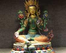 19 Tibet Buddhism Temple Copper 24K Gold Gilt Painted Green Tara Kwan-yin Statue