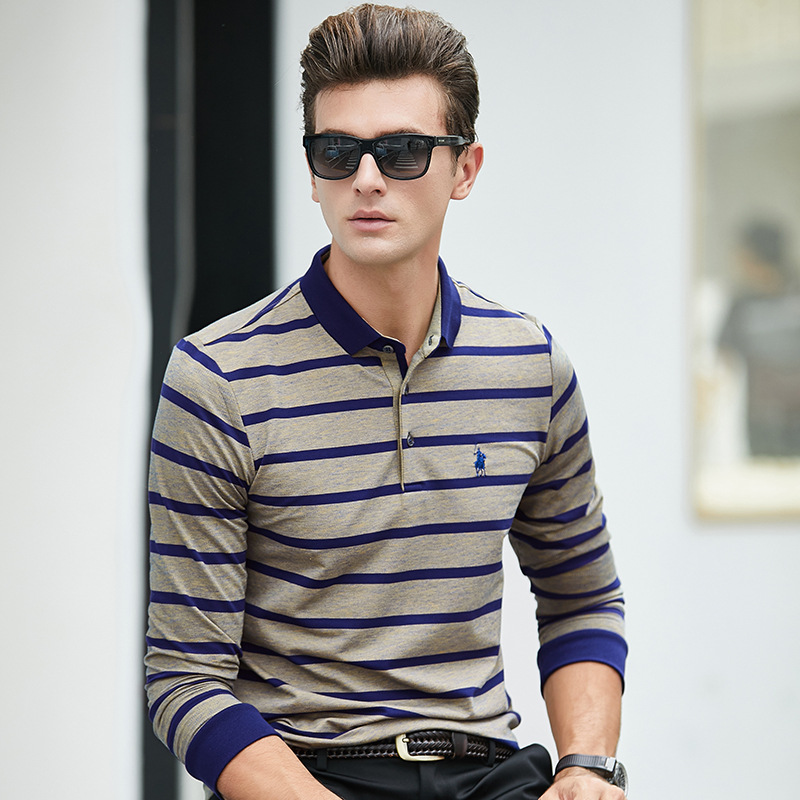 New 2018 High Quality Autumn Mens Blend Cotton Striped   Polos   Shirts Men's Bussiness Casual Tops Tees Clothings Retro 8837