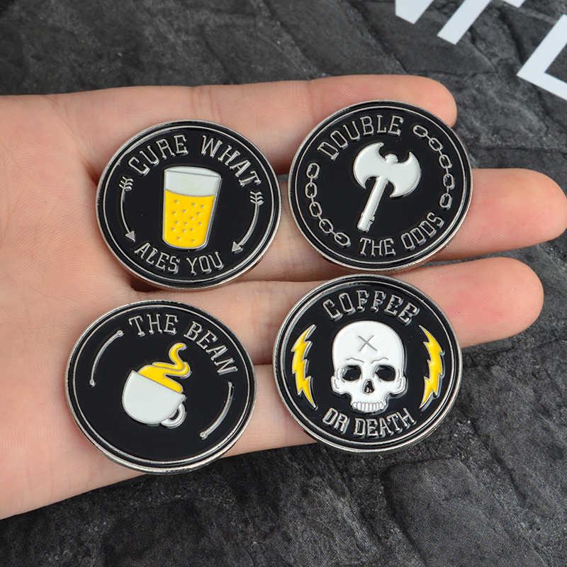 黒ラウンドパンクスタイルブローチセットスケルトンコーヒー斧ドリンクカップパターンバッジダークハロウィンジュエリーアクセサリー