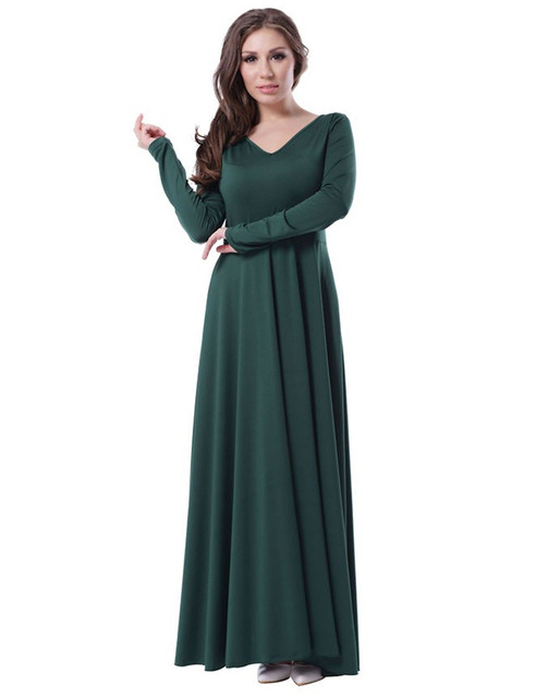 c38a74b710 70343 Woman's Fashion Clothing Maxi Dress Long Sleeve Fit and Flare Elegant  Autumn Dress V back Plus Size Green Dress
