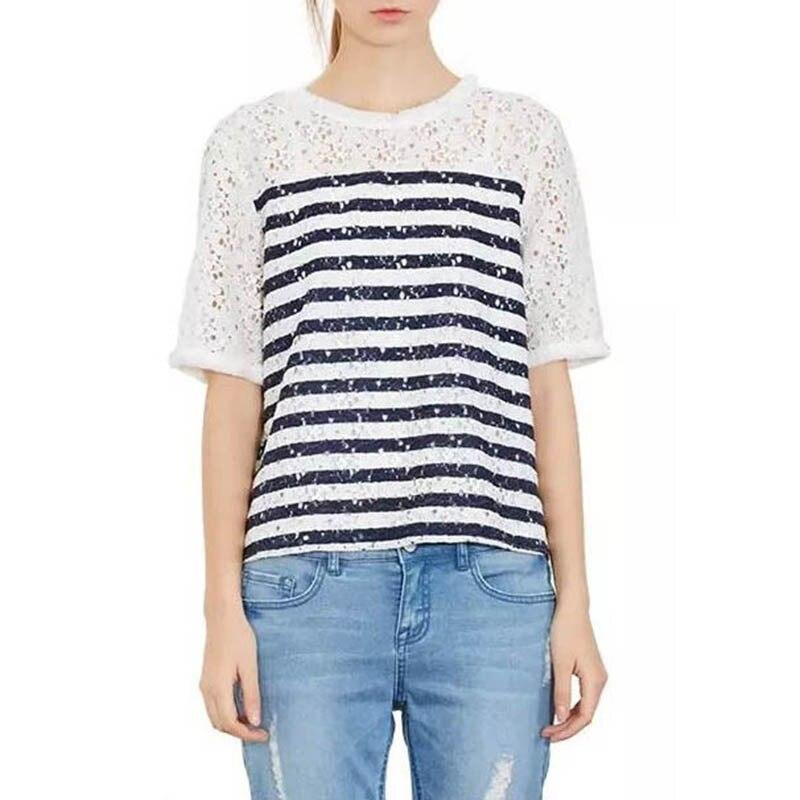 ୧ʕ ʔ୨Top Design mujeres Encaje costura Blusas blusa delgada de ...