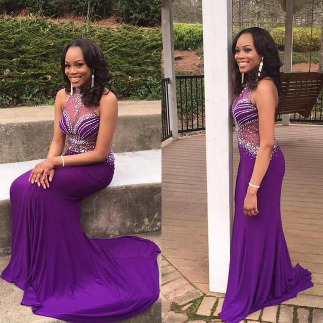 9ac083e2f Sexy Illusion High Neck Black Girls Long Prom Dresses 2017 Purple Sheer See  Through Mermaid Beaded Evening Party Gowns