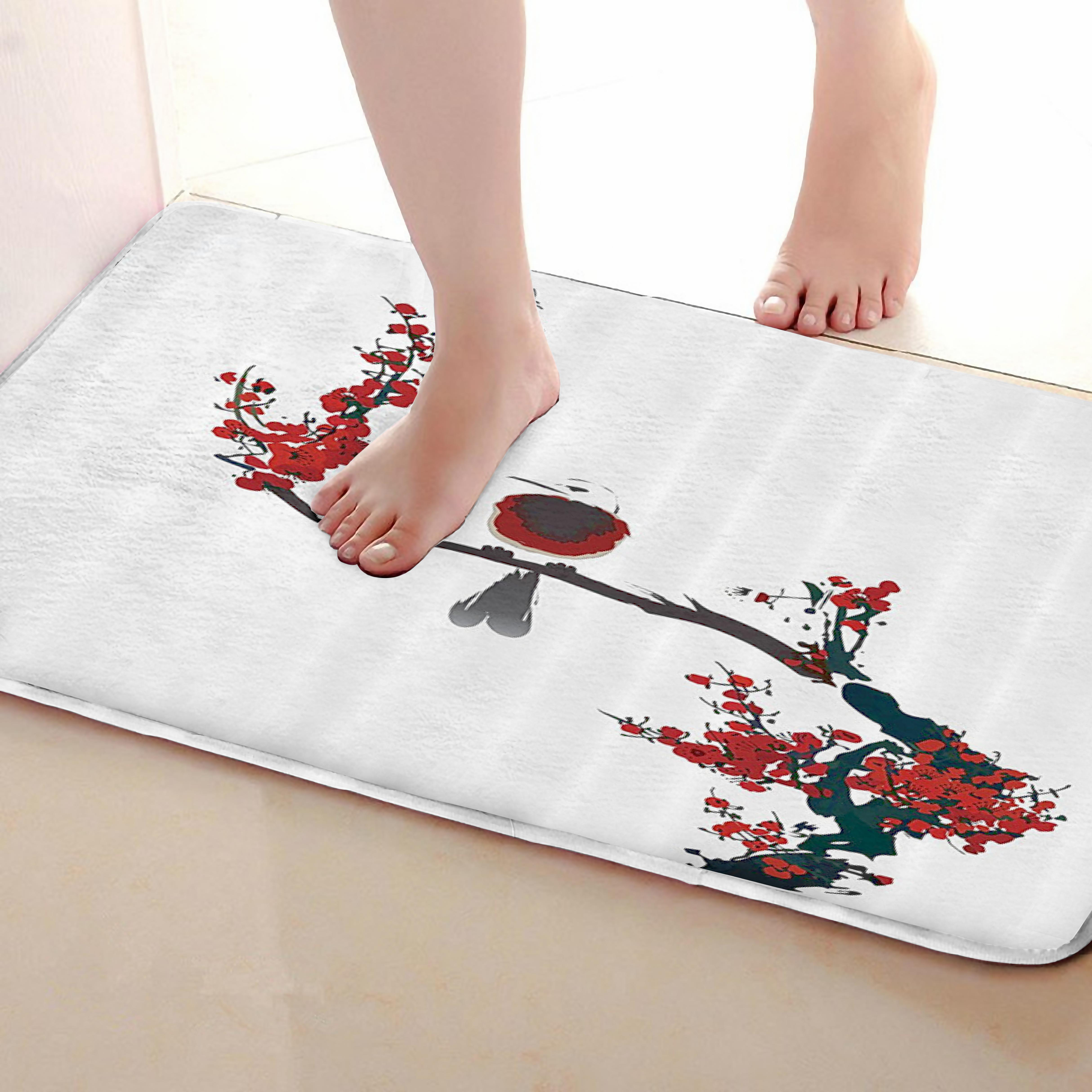 Bird Style Bathroom Mat,Funny Anti skid Bath Mat,Shower Curtains Accessories,Matching Your Shower Curtain