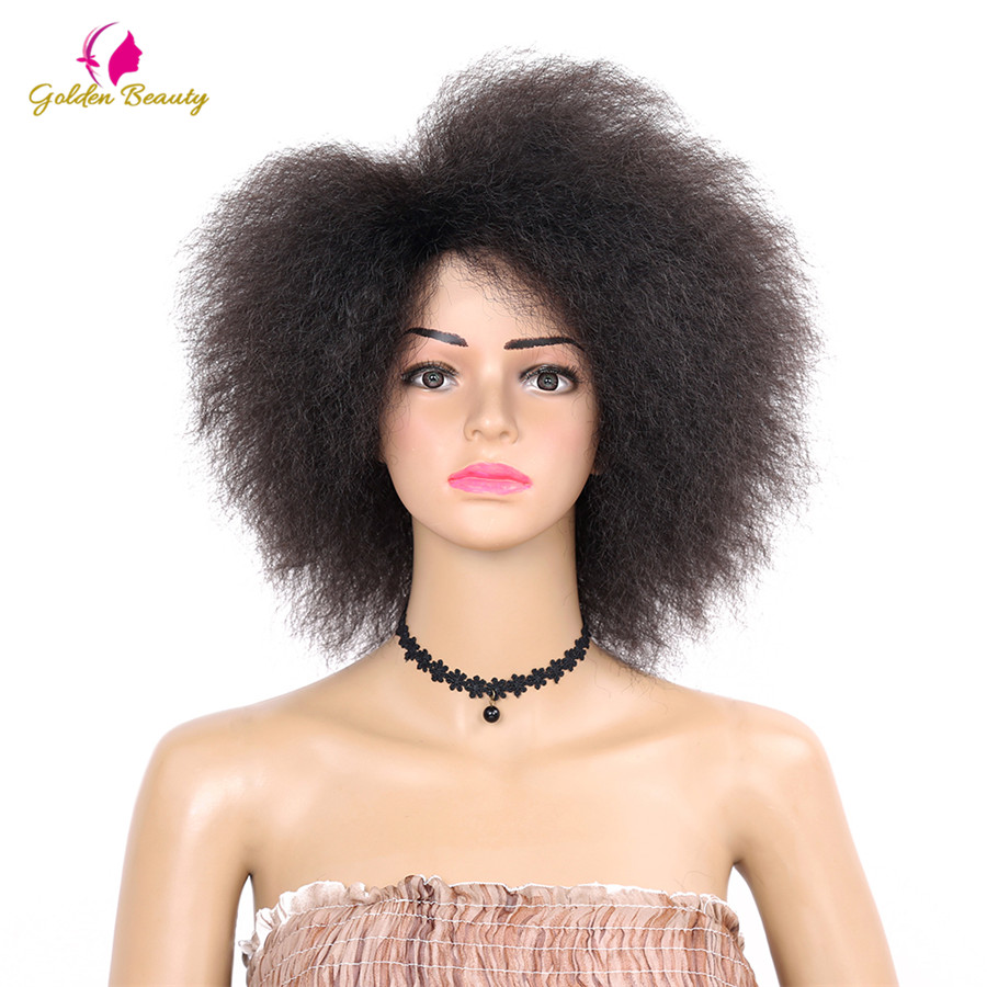 Golden Beauty 6inch Short Afro Wigs Nature Black Synthetic Kinky Curly Wig  Cosplay For Women 90g
