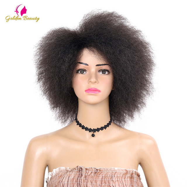 Golden Beauty Kinky Curly short Afro Wigs 6inch nature black Synthetic Wig  For Women 90g bffd5a55b