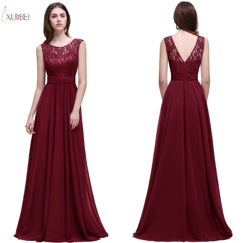 2019 Burgundy Chiffon Long Evening Dress Scoop Neck Sleeveless Evening Gown robe de soiree(China)