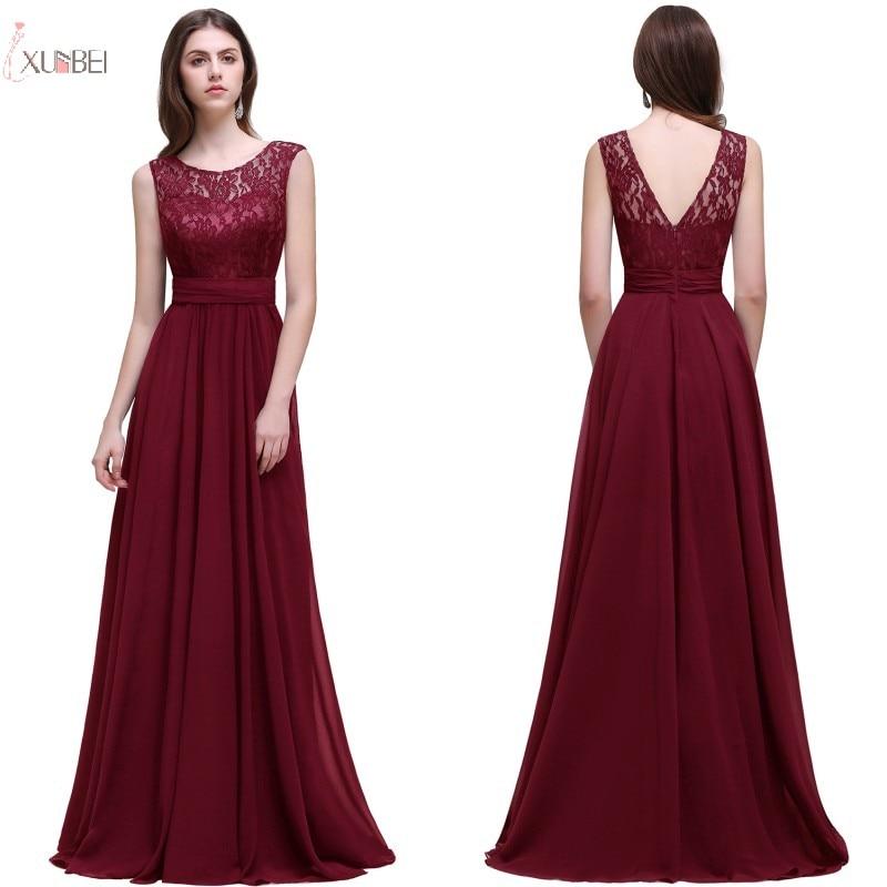 da8524d9bd3fb 2019 Burgundy Chiffon Long Evening Dress Scoop Neck Sleeveless ...