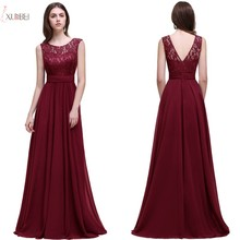 купить 2019 Burgundy Chiffon Long Evening Dress Scoop Neck Sleeveless Evening Gown robe de soiree по цене 2468.47 рублей