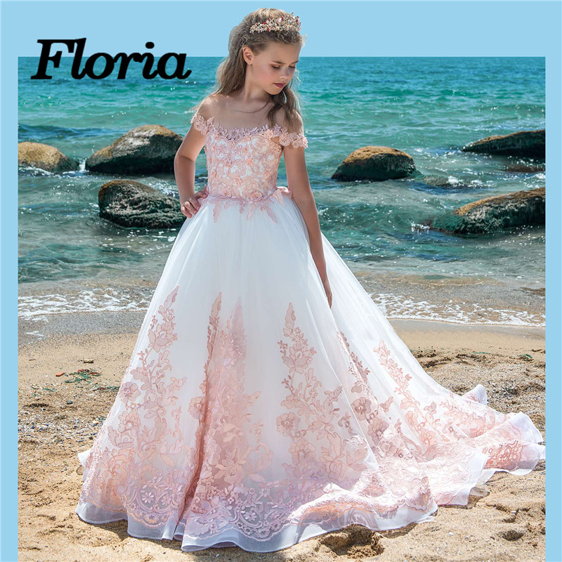 New Fancy Pink   Flower     Girl     Dresses   For Weddings Kids Pageant Ball Gowns First Communion   Dresses   For   Girls   2018 Vestidos daminha