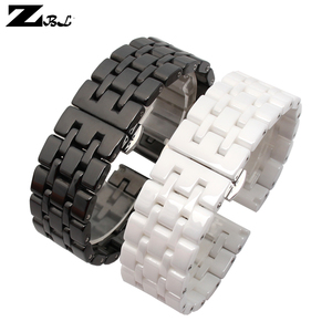 Image 3 - Pure Ceramic watchband watch band 17mm 20mm white black watch strap Butterfly Buckle wristband bracelet belt watch accessories