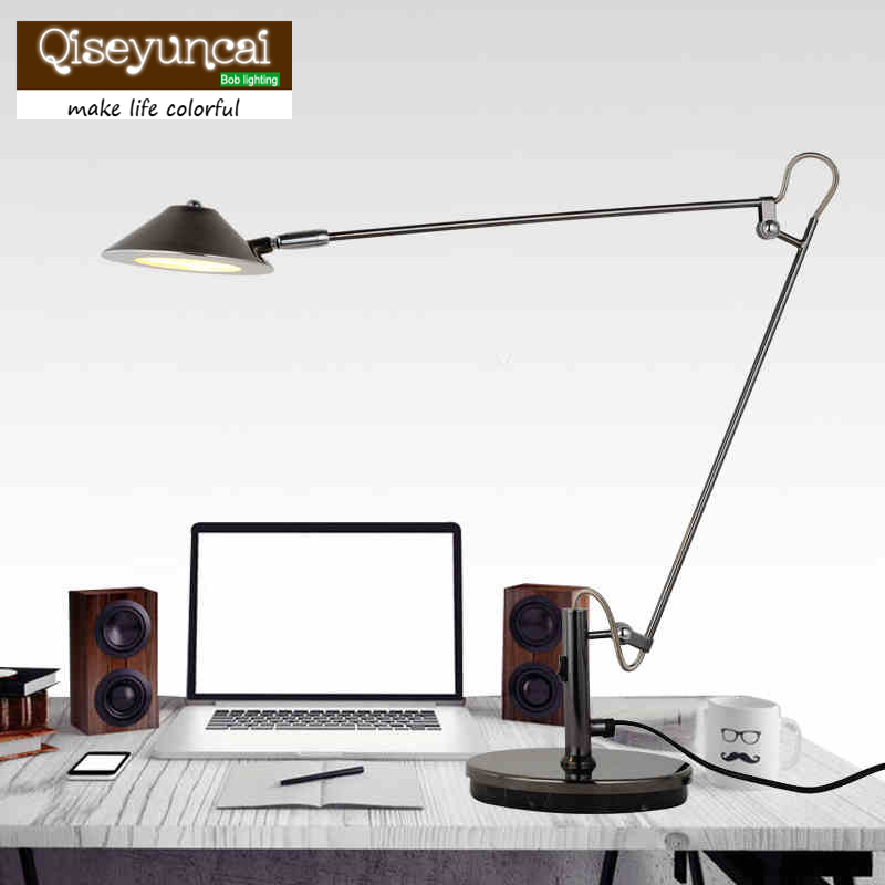 LED work lamp the students reading lamp bedside lamp that shield an eye telescopic folding metal American Long arm desk lamp