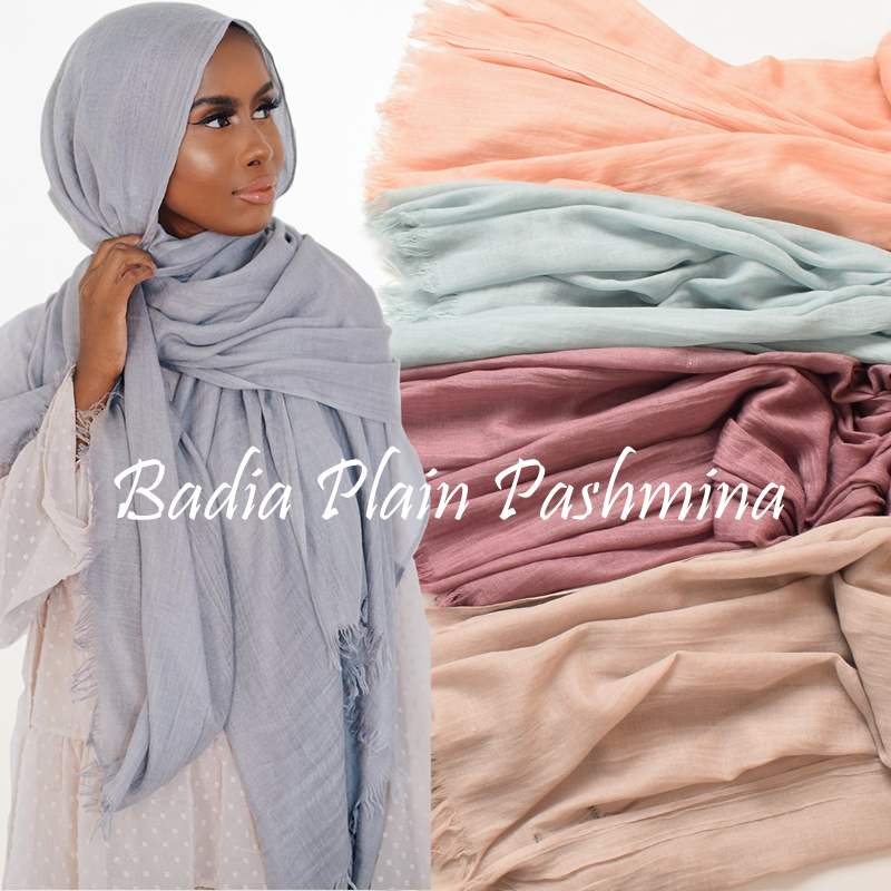 One piece high quality women muslim plain frayed scarf hijab shawls wraps headwear crinkle solid oversize pashmina hijabs(China)