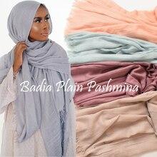 Een Stuk Hoge Kwaliteit Vrouwen Moslim Vlakte Verzwakte Sjaal Hijab Sjaals Wraps Hoofddeksels Crinkle Effen Oversized Pashmina Hijaabs