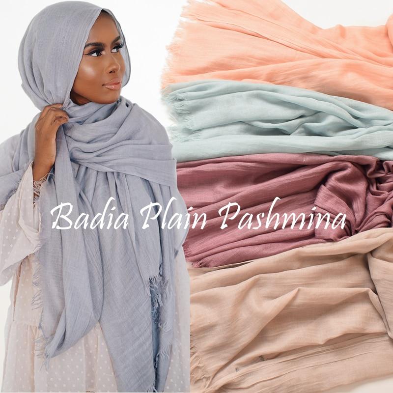 One piece high quality women muslim plain frayed scarf hijab  shawls wraps headwear crinkle solid oversize pashmina hijabsWomens  Scarves