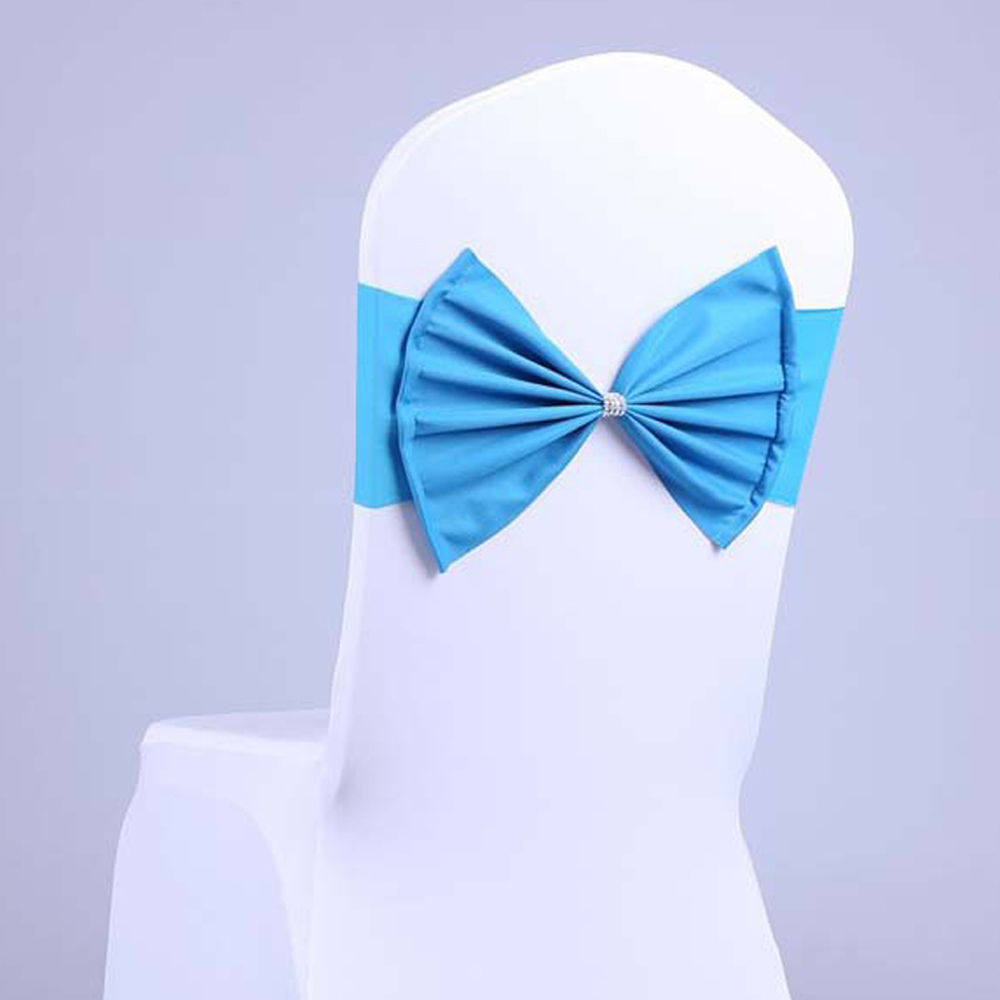 Wholesale 100pcs Wedding Party Banquet Decoration Spandex Cloth Chair Bands Decorative Bow Tie Hotel Chair Sash