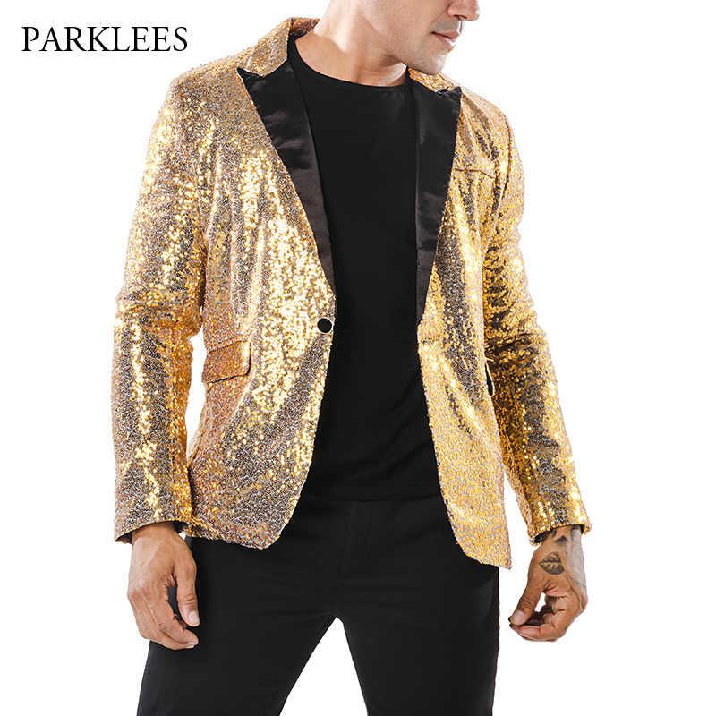 2018 光沢のあるゴールドスパンコールグリッターブレザージャケット男性ナイトクラブウエディング 1 ボタンスーツブレザー男性 DJ ステージ歌手ブレザー衣装オム