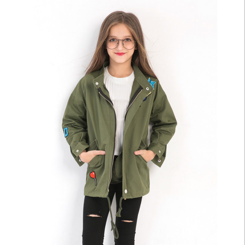 Girls ArmyGreen Coats 2018 Fashion Embroidery Warm Childrens Jacket Fall Winter Outerwear for Teenager Girl Costume 5-14 YearsGirls ArmyGreen Coats 2018 Fashion Embroidery Warm Childrens Jacket Fall Winter Outerwear for Teenager Girl Costume 5-14 Years