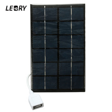 LEORY 5V 2W Solar Panel With USB Port Polycrystalline Solar Cells Battery Charger For MP3 MP4 Cellulari Computer Tablet