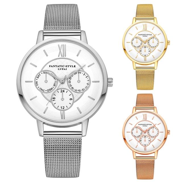 e3d371dac3d Lvpai Marca Mulheres Vestido Clássico Relógio de Três olhos de Prata Estilo  Simples Relógio de Quartzo