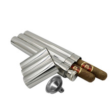 2 Oz Three Tubes Mirror Polished Cigar Flask Travel Wine Whisky Carry Bottles For Gift