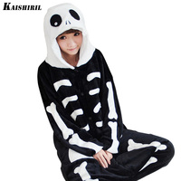 Adult Onesies Flannel Pyjamas Women Female Couple Pajamas For Women/Men Skeleton Nightgown Sleepwear Halloween Cosplay Onesies