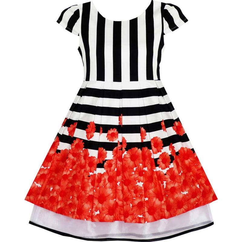 Girls dress black white striped red flower organza hem party 2018 girls dress black white striped red flower organza hem party 2018 summer princess wedding dresses kids clothes size 7 14 pageant mightylinksfo