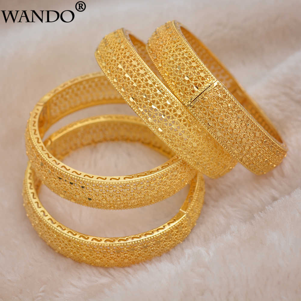 Wando 4pcs Ethiopian Jewelry Gold color Bracelet&bangles for women Dubai France Spain bride wedding bracelet Arab middle east